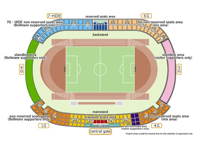 Shonan Bellmare Hiratsuka Stadium Plan Seat Map