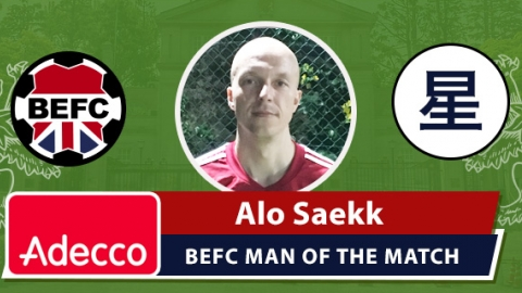 Adecco BEFC Man of the Match Award - Alo Saekk