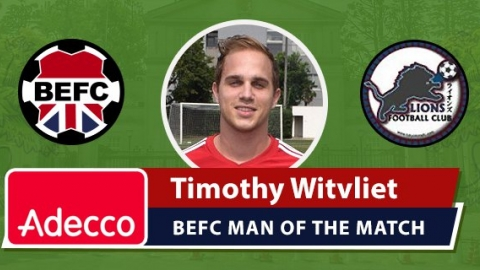 Adecco BEFC Man of the Match Award - Timothy Witvliet
