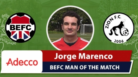 Adecco BEFC Most Valuable Player vs Zion FC - Jorge Marenco
